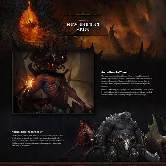 Bottom of the Diablo Immortal website