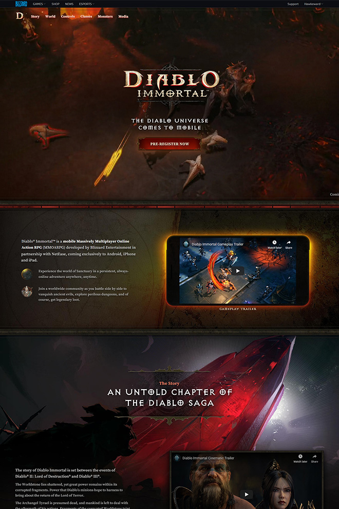 Top of the Diablo Immortal website