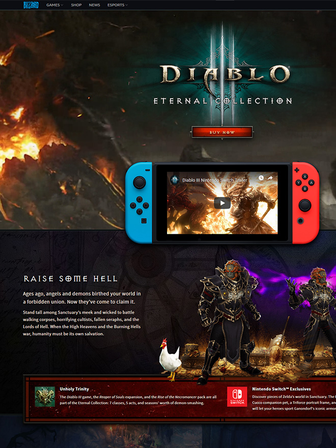 Diablo 3 Switch announcement website header sections