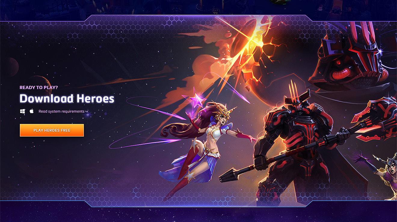 CTA to download and play Heroes for free