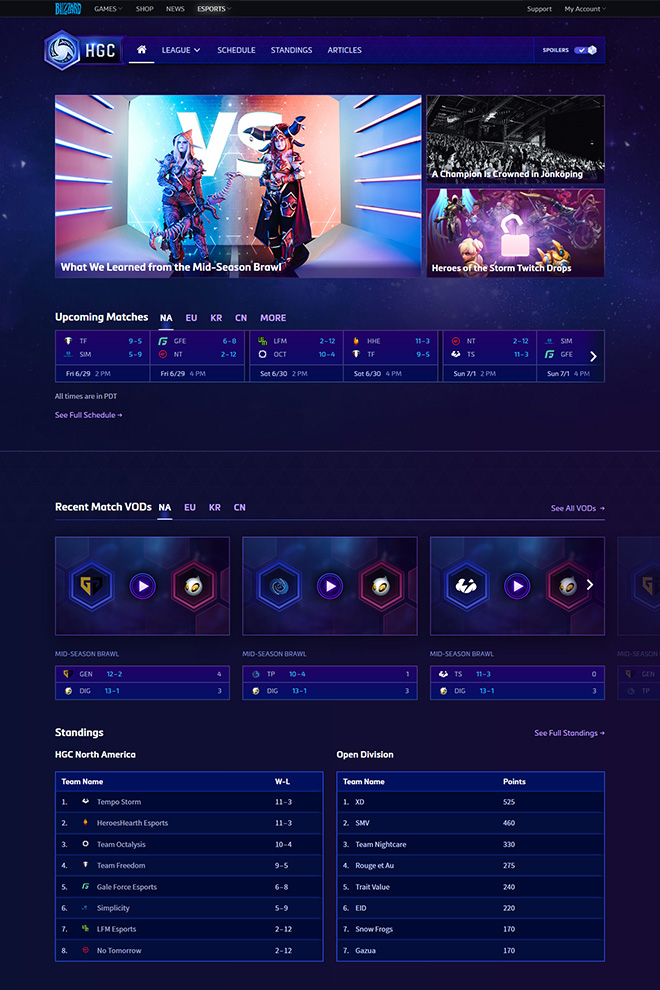 Heroes of the Storm esports website