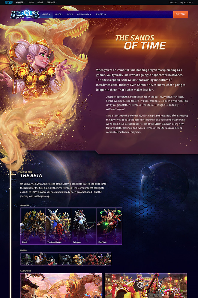Timeline of Heroes of the Storm's history, featuring Chromie