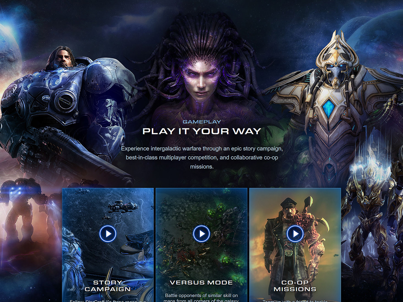 Homepage art, showing Jim Raynor, Sarah Kerrigan, and Artanis