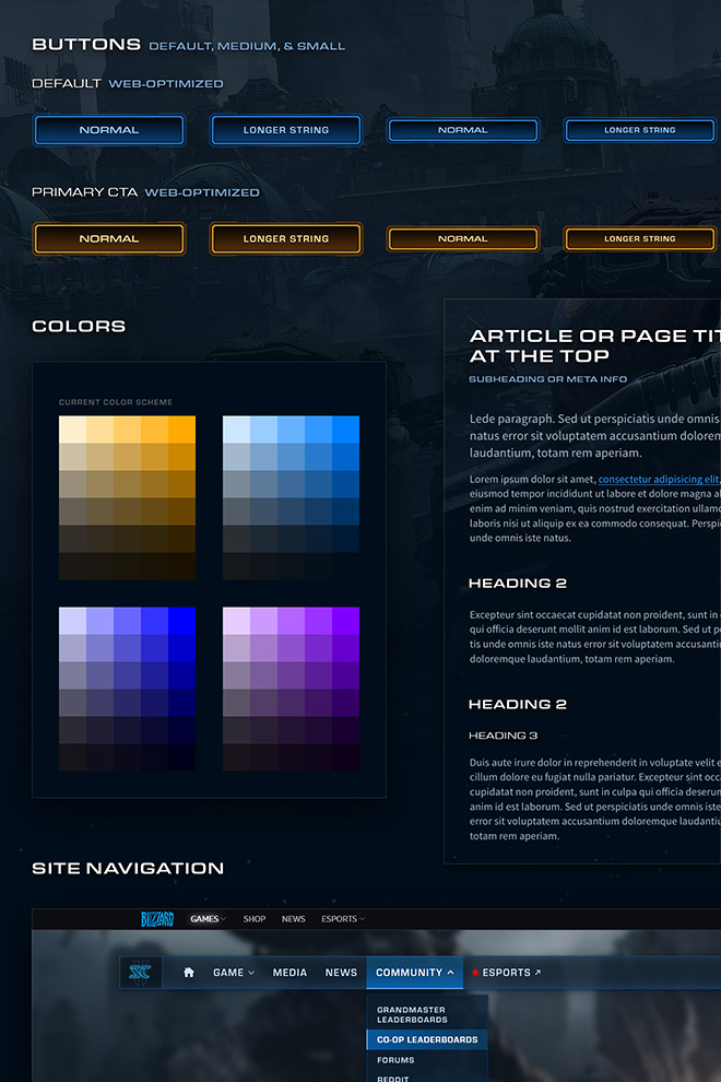 Several StarCraft-themed components, including buttons, color schemes, and navigation